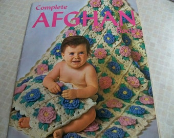 1970 Complete Afghan Book Knitting, Crochet, Cross Stitch Instructions Many Projects Bed O' Roses-Zebra-Weave Patch-Skirt-Jacket-Blanket