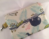 Sloth Zippered Pouch, Notions Case, Wallet, Vegan Gift, Handmade
