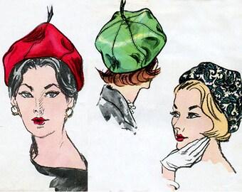 1960s Sally Victor Beret Pattern Vogue 5641 Designer Hat Vintage Sewing Pattern Size 22 Inch Head FF Unused Original Pattern RARE