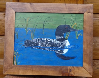 "Beautiful Loon Swimming  in the Pond (11"" x 14"") Painting by the Artist [Framed]/Country/Cabin/Rustic"