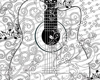 Adult Coloring Page Printable Guitar Poster Instant Download By Juleez