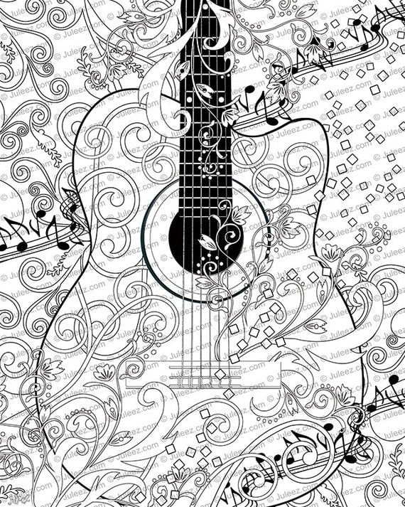 printable coloring pages guitar - photo#15
