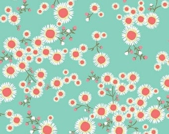 1 Fat Qtr Retro Garden Party TANGO Bright Daisy Aqua Red Petite Floral Windham Fabric Quilting Sewing Fabric