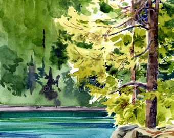 Big Beaver Camp on Ross Lake - Original Plein-air Watercolor - Archivally Matted and Mounted