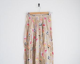 Vintage 90s Skirt. Geometric Print Pleated Skirt w/ Elastic Waist. Palm Tree Print Pink Skirt. Beige Khaki Skirt. High Waist Skirt w Pleats.