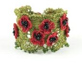 Bracelet-Handmade Crochet Beadwork Luxury Statement Poppy Flower Bracelet, Bohemian Style Cuff, Crochet Floral Bracelet, Fiber Jewelry