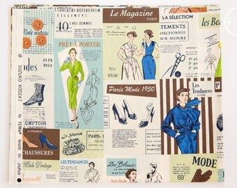 Suzuko Koseki Paris Fashion Ads in Vintage, Yuwa Fabric, 100% Cotton Japanese Fabric, SZ