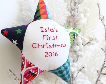 Baby's First Christmas Ornament Personalized Patchwork Star, modern baby ornament, first XMAS, gender neutral baby christmas