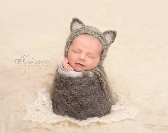 Soft mohair kitten, cat bonnet. Choose your colour and size. Great photo photography prop.