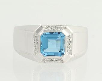 Blue Topaz & Diamond Halo Ring - 14k White Gold Princess Solitaire 2.62ctw L9602