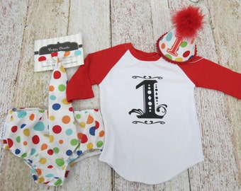 Boys First Birthday Party Pack Set With Hat Tie Diaper Cover and Graphic 3/4 sleeve Tee in Primary Dots