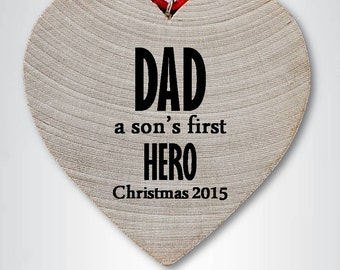 I love dad ornament, dad Christmas ornament, first hero, dad Christmas gift, dad heart ornament, dad ornament, best dad
