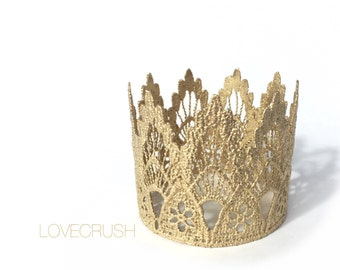 Lace Crown || WASHABLE || Ready to Ship ||Sienna || MINI gold lace crown|| headband option|| photography prop || princess ||all ages