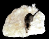 Alpaca Cat Bed Pet Mat Cruelty Free Felted Fleece Rug - White - Supporting Small Farms of The United States