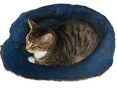 Cat Bed Felted Wool Fleece Cat Basket - Navajo Churro Brown on Blue - Kat's Cradle - Supporting Small US Farms - Ready to Ship