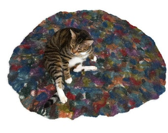 Cat Bed -  Cat Mat - Hand Felted Wool  Throw Rug - Pet Mat - Pet Bed - MultiColor Abstract