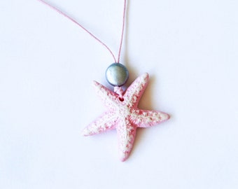 Blush Pink Starfish Clay Necklace