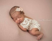 Newborn Vintage Lace Romper and Tieback, baby girl, lace, romper,  rosette, bodysuit, headband, photography prop