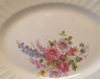 Charming farmhouse floral lg serving platter gorgeous bouquet romantic country