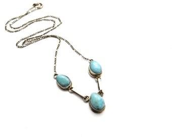 Larimar Necklace, Vintage Larimar Stone Sterling Silver Necklace, Blue Stone Necklace, Silver Necklace, Vintage Pendant Necklace