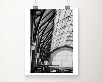 London photography Kings Cross photograph train station photograph London print London decor black and white photography