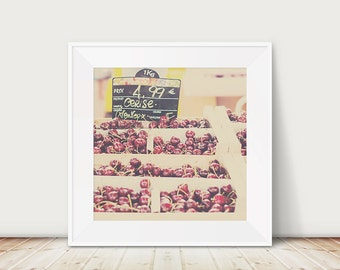cherry photograph cerise photograph french market photograph food photography kitchen wall art cherry print fruit photograph