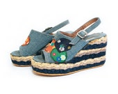 RESERVED 1970s Denim and Patchwork Striped Espadrilles