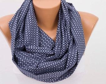 SALE Infinity  scarf ,scarf ,infinity scarf ,loop scarf , geometrical print ,blue