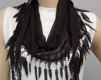 Fringed lace scarf ,triangle lace scarf , guipure scarf, summerscarf ,woman scarf, plain ,black