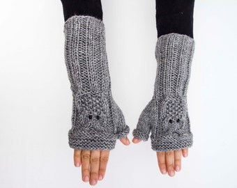 Owl gloves knitted fingerless owl gloves in grey  -  COLOR OPTION AVAILABLE