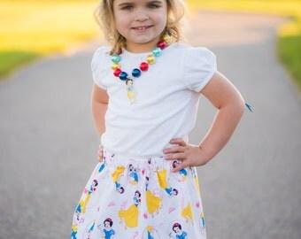 Disney inspired Snow White  Skirt (18 mos, 24 mos,  2T, 3T, 4T, 5 ,6, 7, 8, 10)
