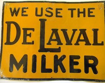 FARM SIGN, Vintage Metal DELAVAL Dairy Farm Sign