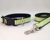 Green Chevron Dog Collar and Leash