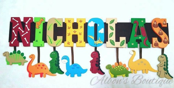 10 LETTER NAME -  Custom Hanging Name Sign - ANY Theme, Dinosaur, jungle, cars, sports, nojo, made to match any baby bedding