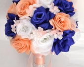 "17 Piece Package Wedding Bouquet Bride Silk Flowers Bridal Party Bouquets Decorations Centerpieces BLUE PEACH BLUSH ""Lily of Angeles"" BLPI06"