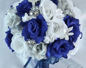 "17 Piece Package Wedding Bouquet Bride Silk Flowers Bridal Bouquets Decorations Centerpieces Navy BLUE SILVER WHITE ""Lily of Angeles"" BLSI01"