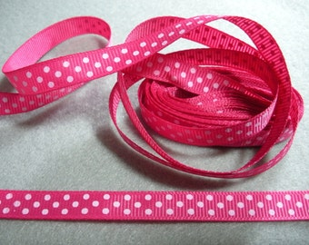 Rose & White Polka Dot Grosgrain Ribbon ... 3/8  Inch Wide ... You Choose Length (2 Yds, 3 Yds, 4 Yds, 5 Yds)... Item No. L219