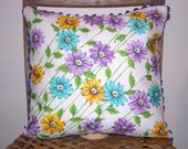 RESERVED - Vintage Handkerchief Pillow Cover with Long Stem Daisies Fly