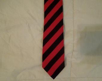 Skinny Tie, Black and Red Stripes, 1980s Vintage