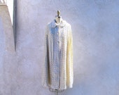 Vintage 60s Cape, Sequined Evening Jacket, Ivory Cape, 1960 Fashion
