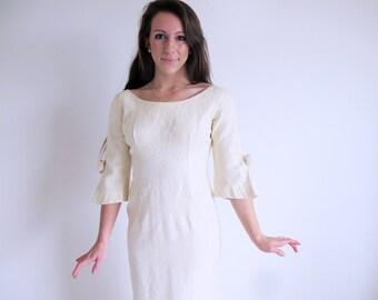 Vintage Audrey Hepburn Dress, 1960s Ivory bridal Gown