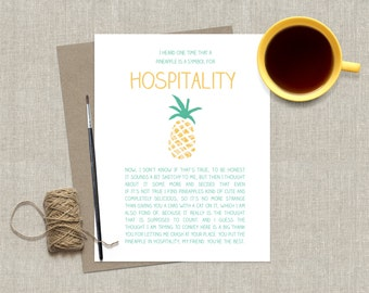 Thank You Greeting Card Funny Greeting Card Pineapple Thank You For Your Hospitality Card Friendship Thanks Friend Greeting Card Funny Card