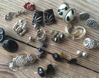 Earrings Pierced Silver-tone Vintage lot 196
