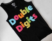 Front back Neon double digits fun for 10 years -  personalized applique SHIRT, girl tween birthday number zebra and name