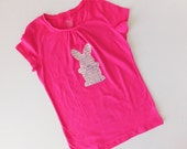 Sparkle Mom, tween, girl Easter hot pink SHIRT with bunny rabbit applique in glitter sequin silver - kids - adults - fun for Easter pictures