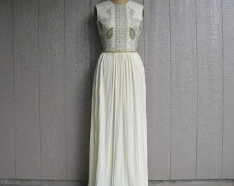 Vintage 70s GODDESS OF GOLD Alfred Shaheen Maxi Evening Dress and Jacket
