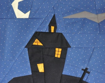 Halloween Haunted House quilt block, paper pieced quilt pattern, PDF pattern, instant download, clock pattern