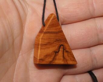 Olive Wood Necklace , wood jewelry, ufo jewelry