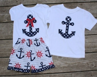 Brother and Sister Matching Anchor Outfits - Girl's Ruffle Shorts with Personalized Anchor Applique ShirtsShirt