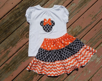 Girl's Toddlers Skirt and Shirt Outfit -  Disney Minnie Mouse Halloween Shirt with 3 Tiered Skirt
